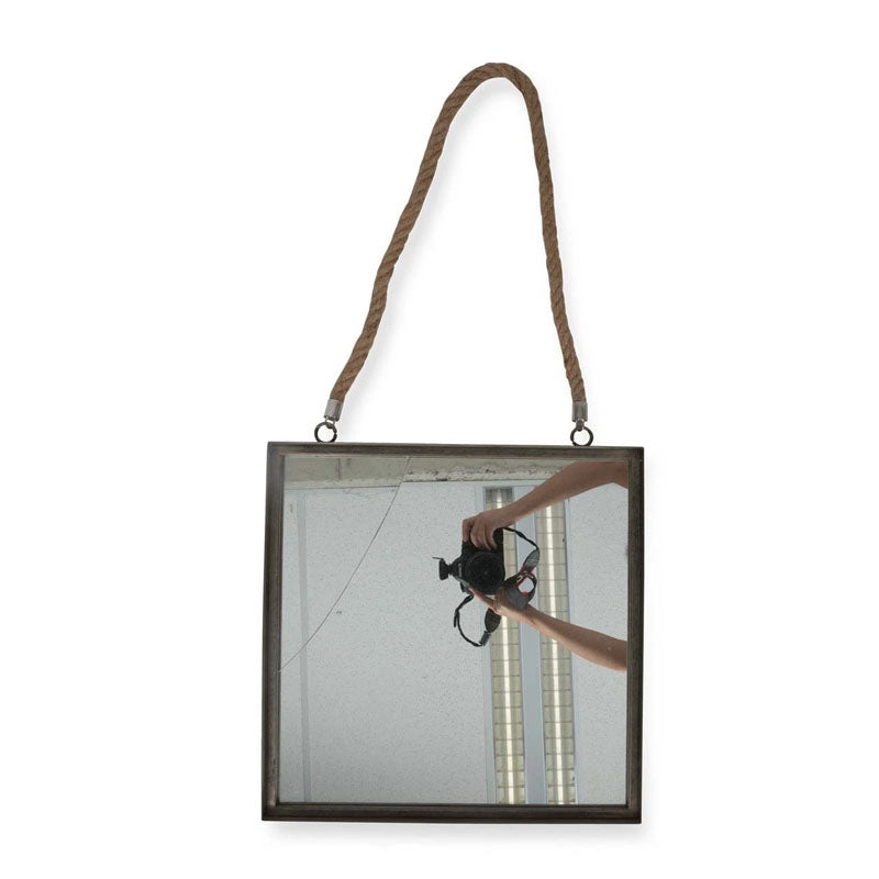 Square Metal Mirror with Rope Handle - Notbrand