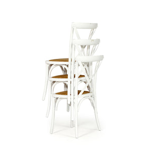 Stackable Provincial Solid Oak Cross Back Chair - White - Notbrand