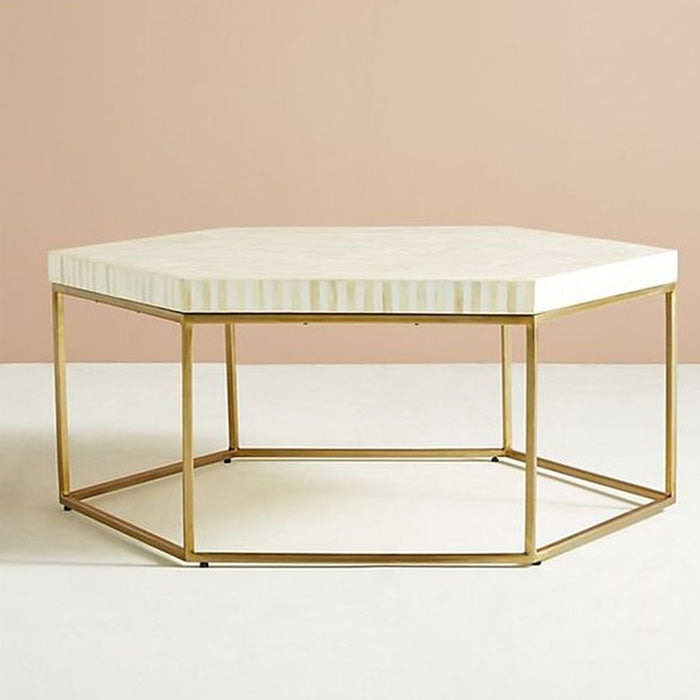 Aria Striped Hexagonal Bone Inlay Coffee Table White - Notbrand