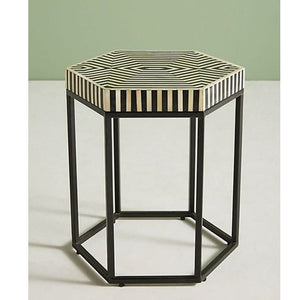 Aria Striped Hexagonal Bone Inlay Table Black and White - Notbrand