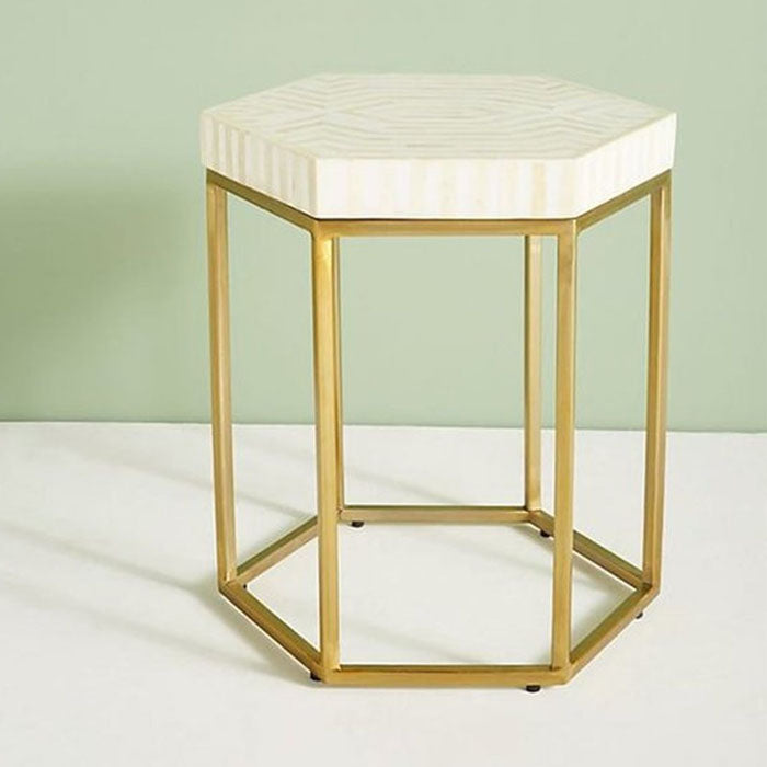 Aria Striped Hexagonal Bone Inlay Side Table White - Notbrand