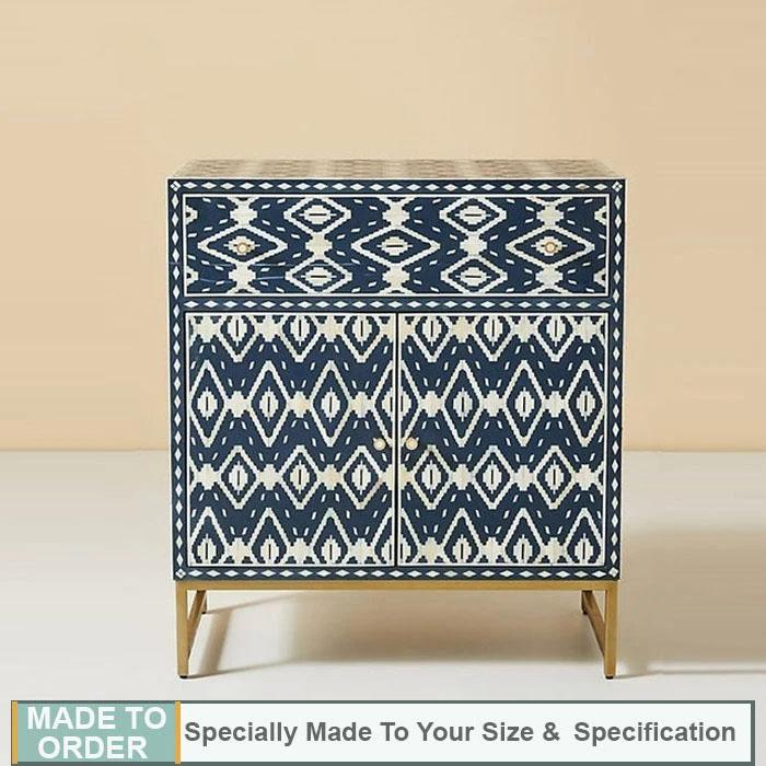 Sandor Ikkat Pattern Bone Inlay Buffet Cabinet Blue - Notbrand