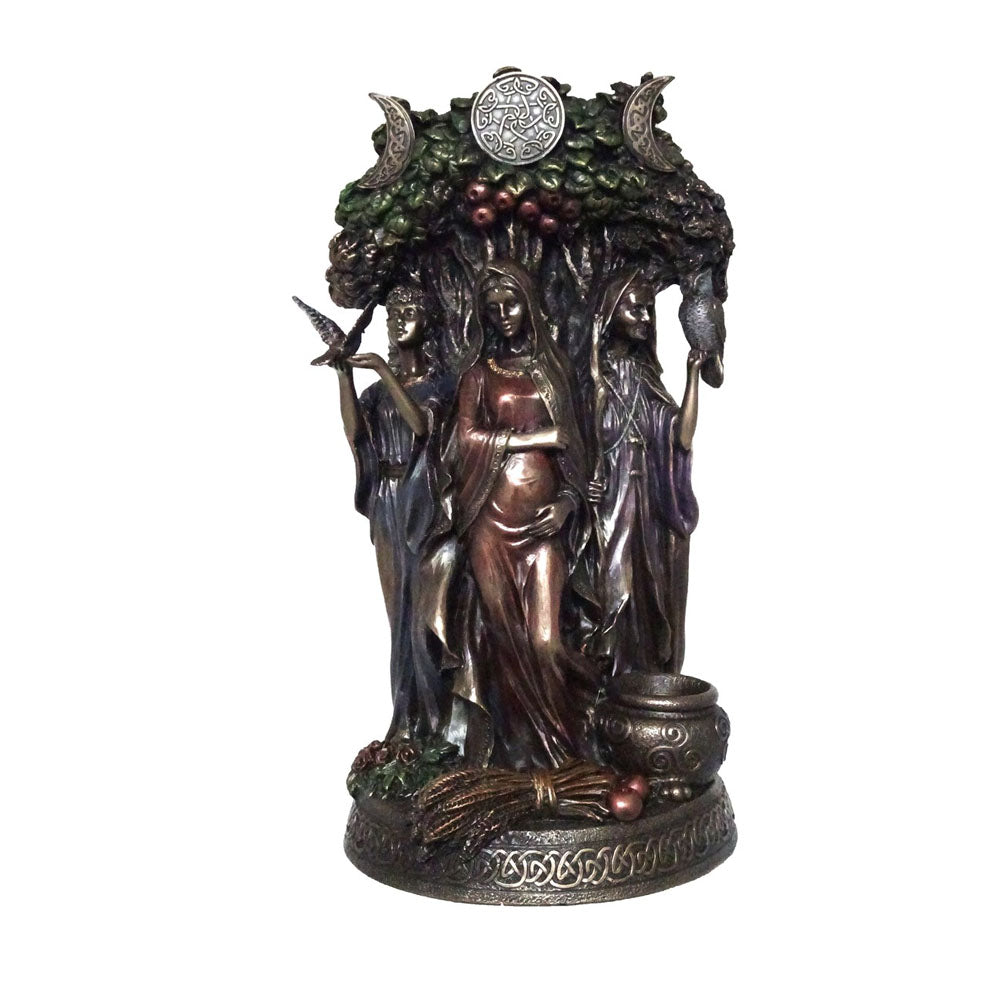 The Wiccan Triple Goddesses - Maiden, Mother And Crone Bronze Figurine