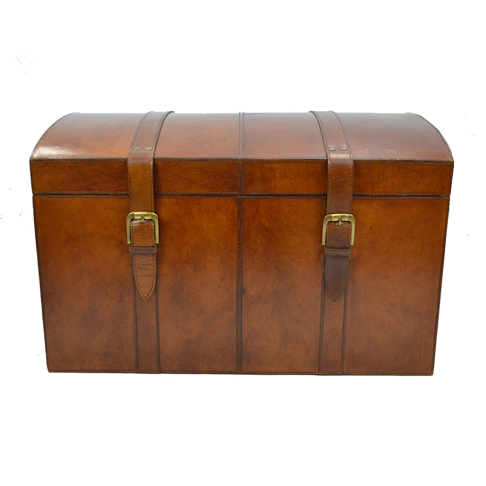 Reminisce Tan Leather Treasure Chest - Notbrand