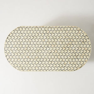 Minali Bone Inlay Coffee Table Oval in Black - Notbrand