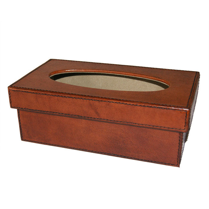 Serpretus Tan Leather Tissue box - Notbrand