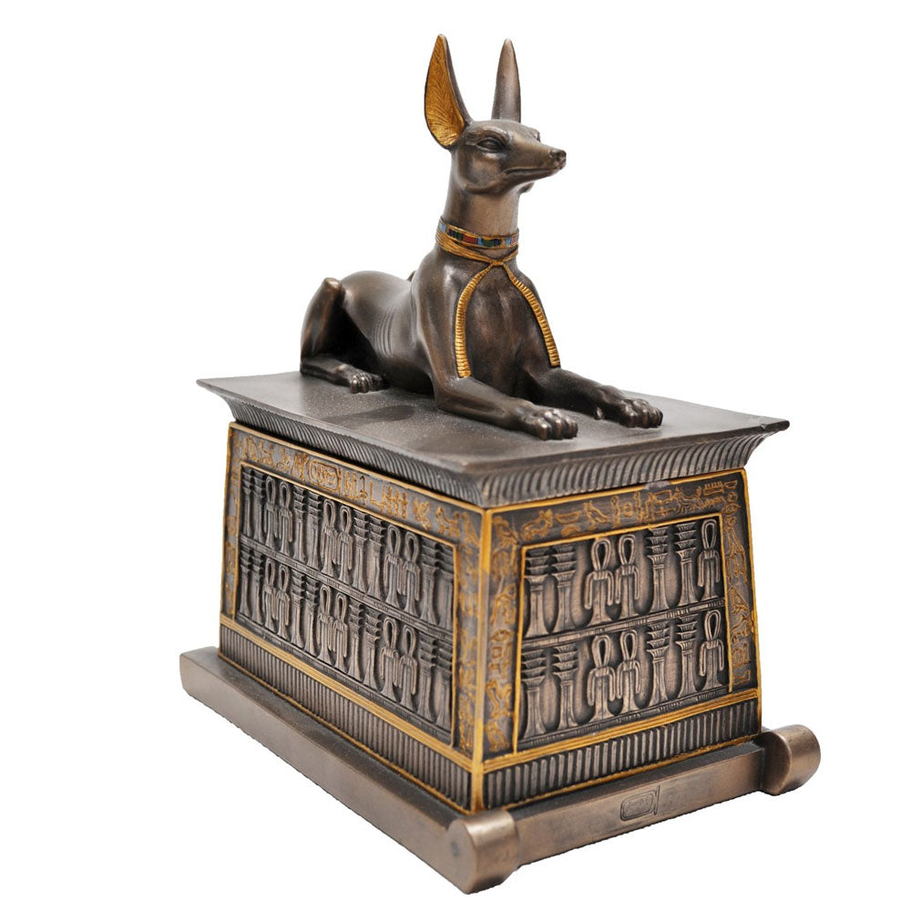 Anubis Trinket Box Bronze Figurine - Small