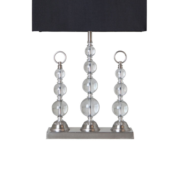Trio Crystal Table Lamp with Black Shade