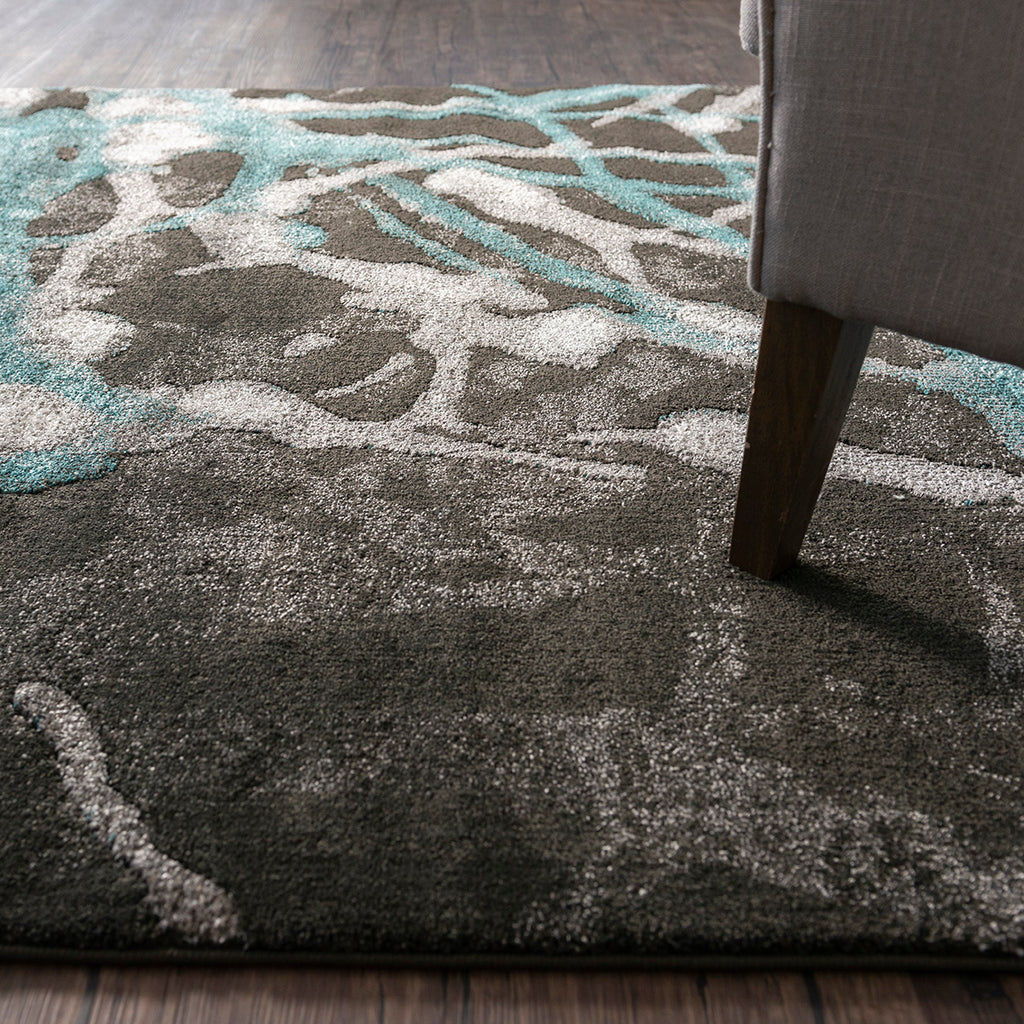 Black & Teal Ultra Contemporary Soft Polyester Rug