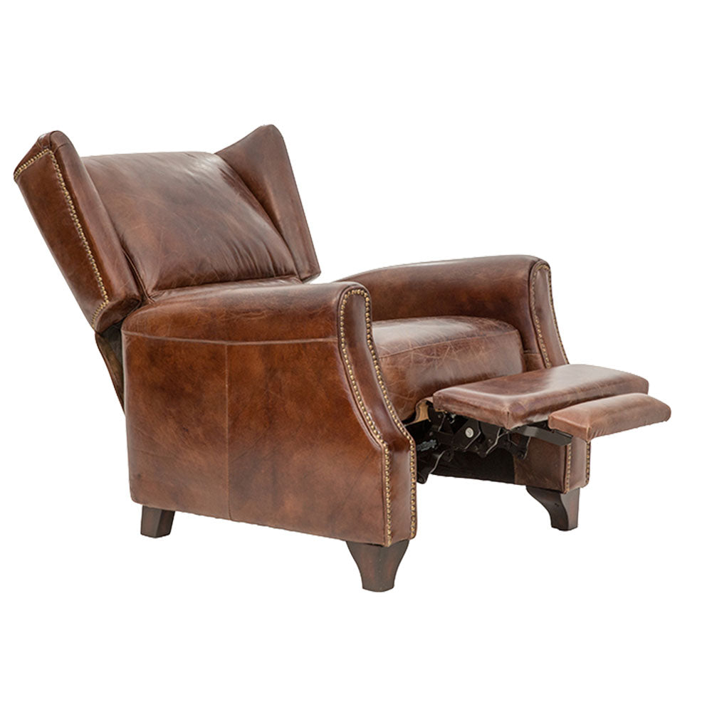 Brooklyn Chesterfield Armchair Recliner Aged Leather - Notbrand