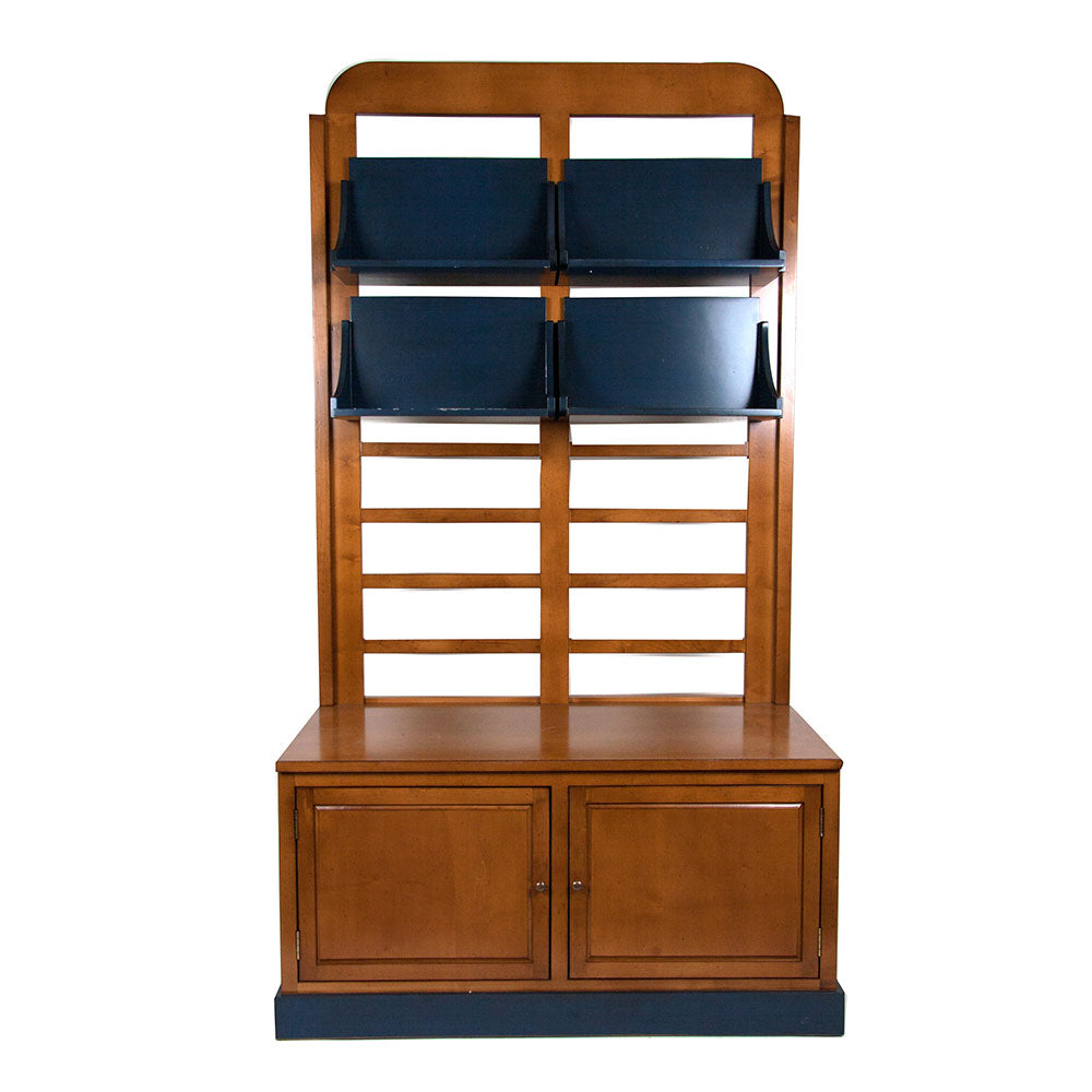 Grille Solid Wood Bookcase Cabinet Shelving - Notbrand
