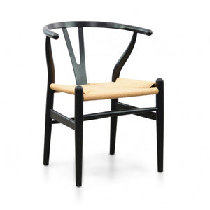 Hans Wegner Replica Dining Chair - Black - Natural Seat - Notbrand