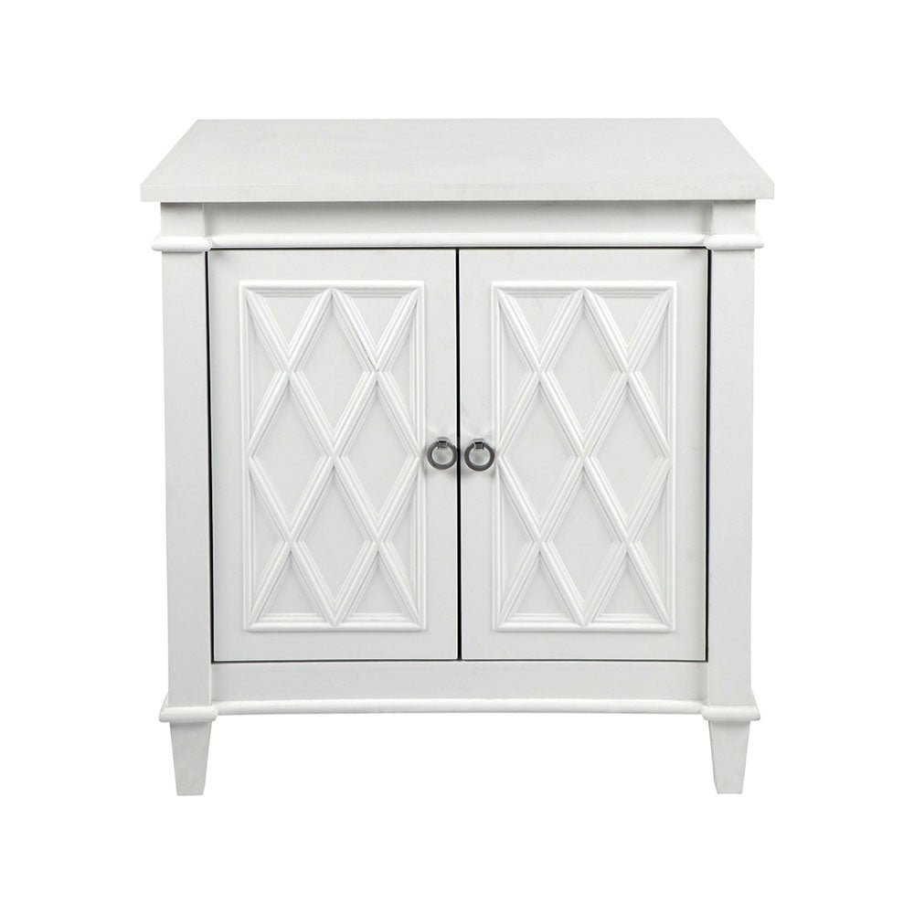 Plantation 2 Door Diamond Pattern Cabinet - White - Notbrand