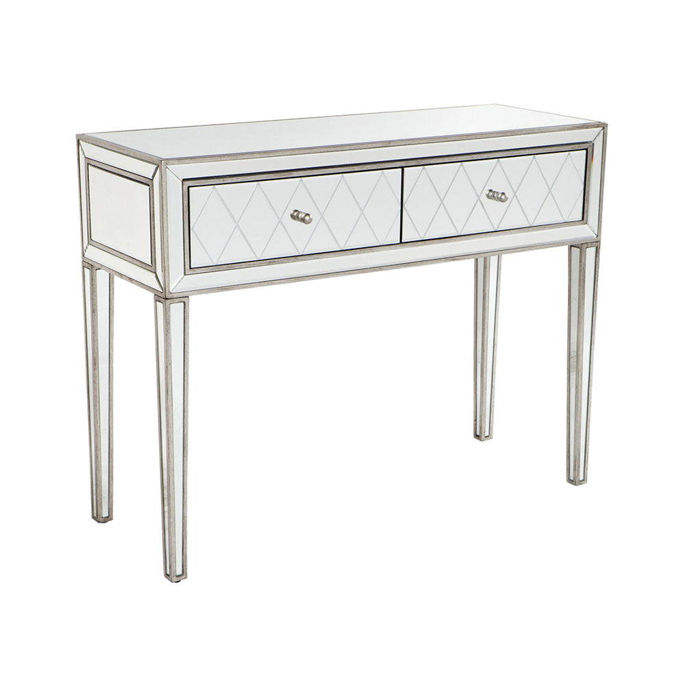 Krystal Console Table 2 Drawer Mirrored - Notbrand