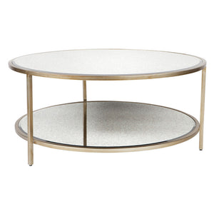 Cocktail Coffee Table - Antique Gold Round - Notbrand