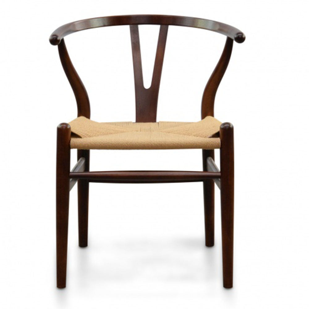Cord Caning Hans Wegner Replica Dining Chair - Walnut - Notbrand