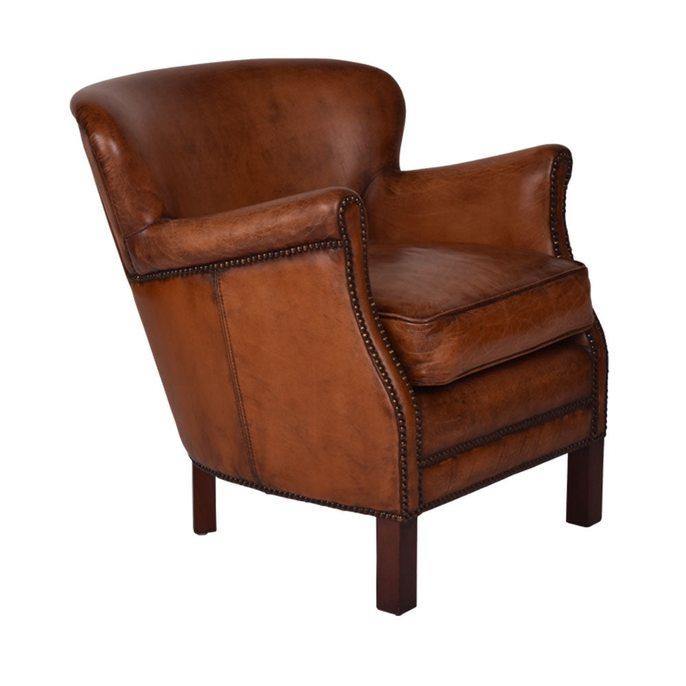 Preston Aged Leather Armchair - Notbrand