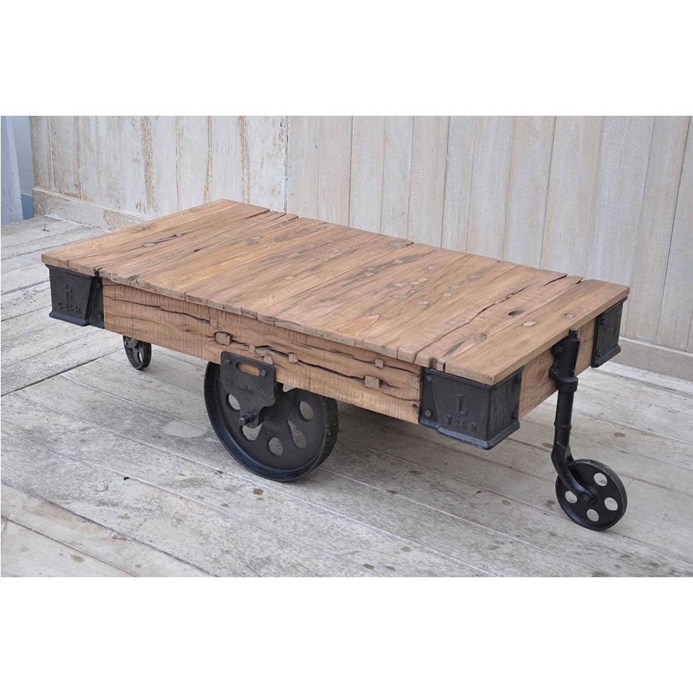 Old Railway Sleeper Industrial Cart Coffee Table - Notbrand