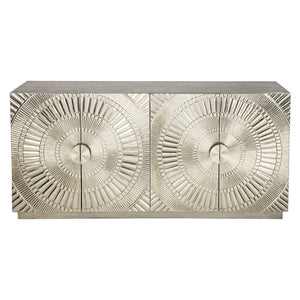 Benson 4 Door Metal Buffet Antique Silver - Notbrand
