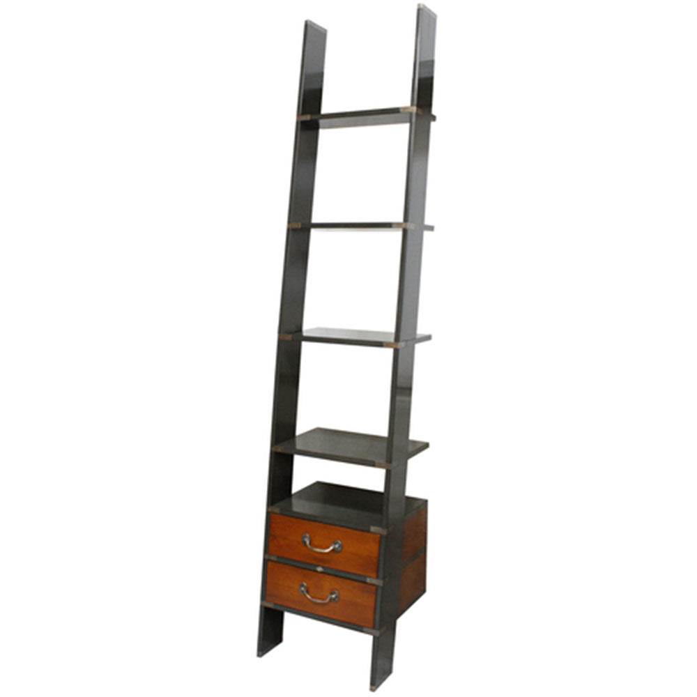 Library Ladder Shelf with Drawers Grey - Notbrand