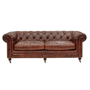 Hampton Court 3 Seater Chesterfield Sofa Aged Leather - Notbrand