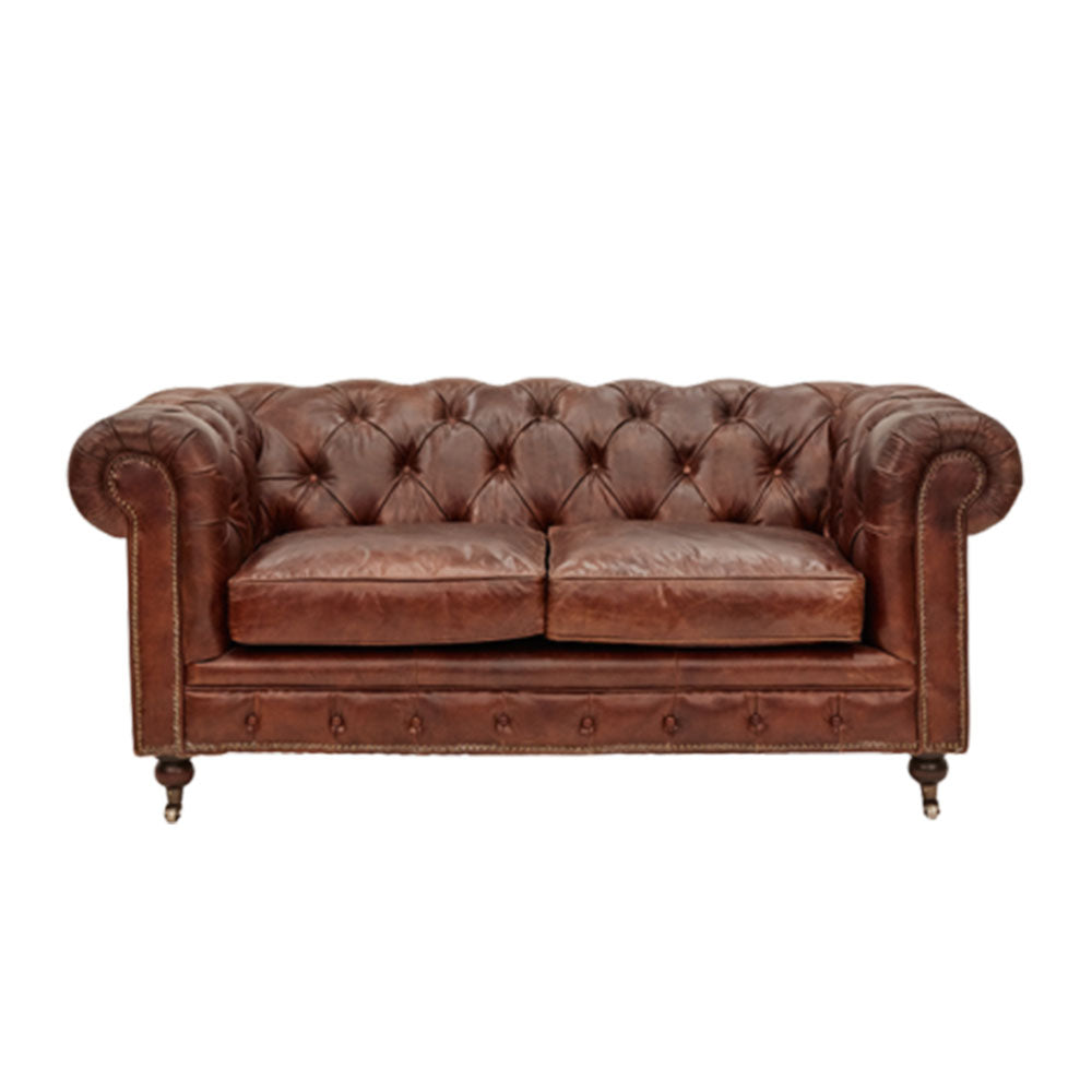 Hampton Court 2 Seater Chesterfield Sofa Aged Leather - Notbrand