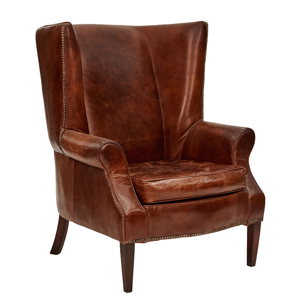 Constitution Wingback Armchair Aged Leather - Notbrand