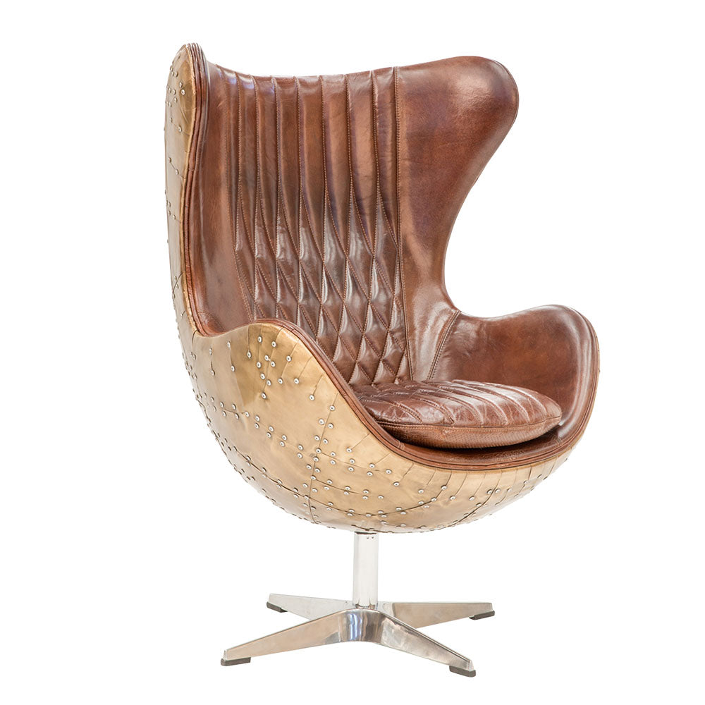 Aviator Aged Leather Swivel Chair - Notbrand