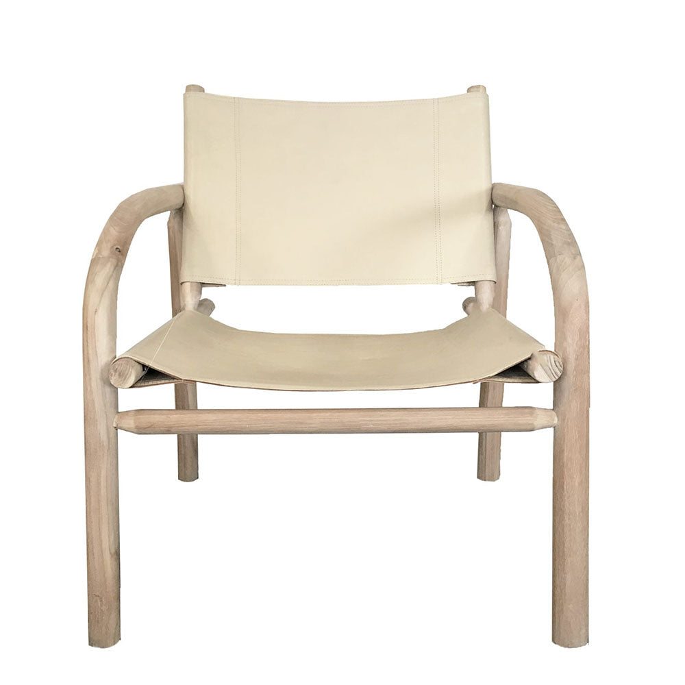 Bow Teak & Leather Occasional Chair Ecru - Notbrand