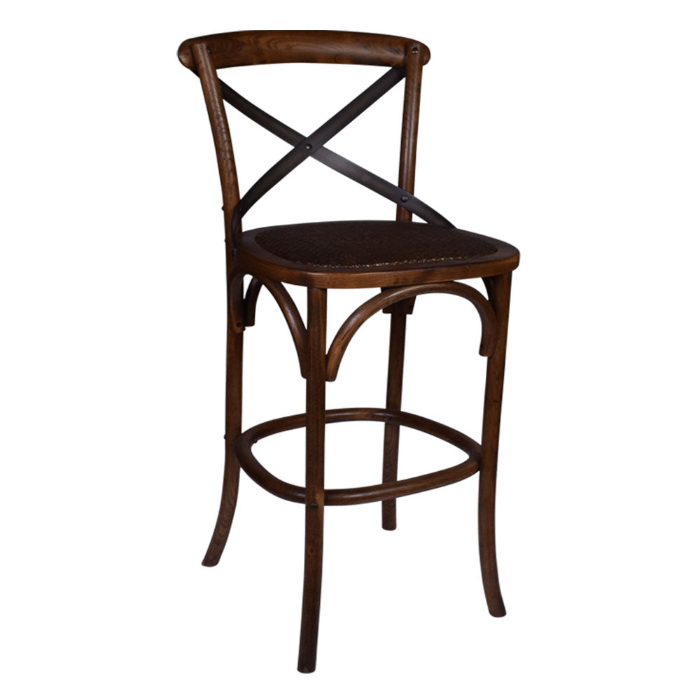 Enzo Cross Back Bar Stool Warm Oak - Notbrand