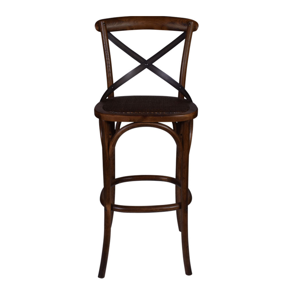 Cross Back Bar Stool in Warm Oak - Notbrand