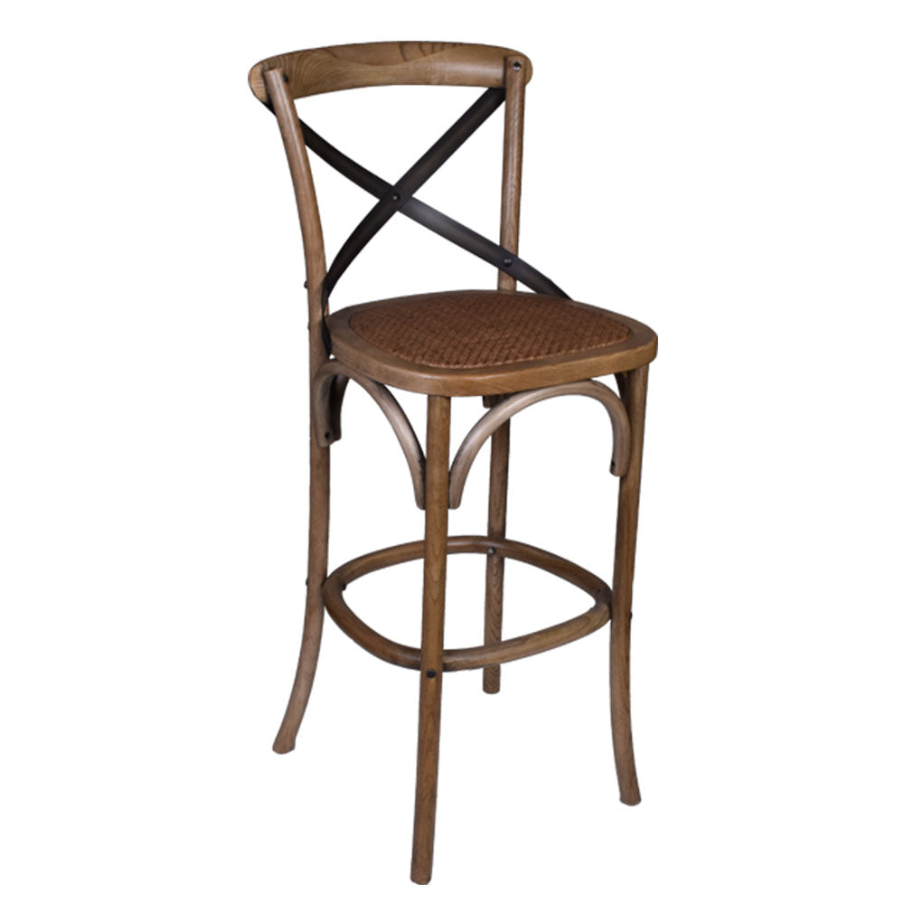 Cross Back Bar Stool in Dirty Oak - Notbrand