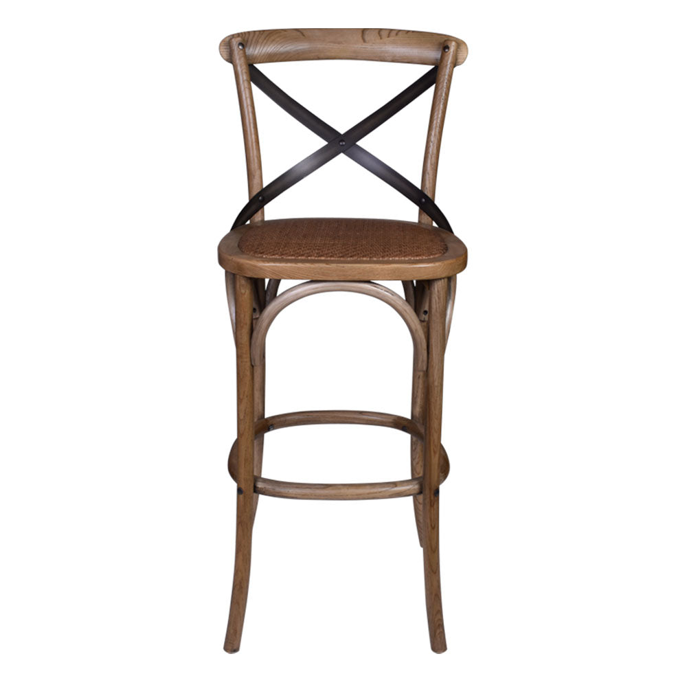Enzo Cross Back Bar Stool Dirty Oak - Notbrand