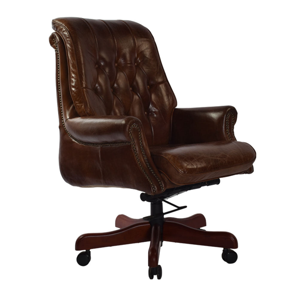 Blake Chesterfield Swivel Armchair Original Leather - Notbrand
