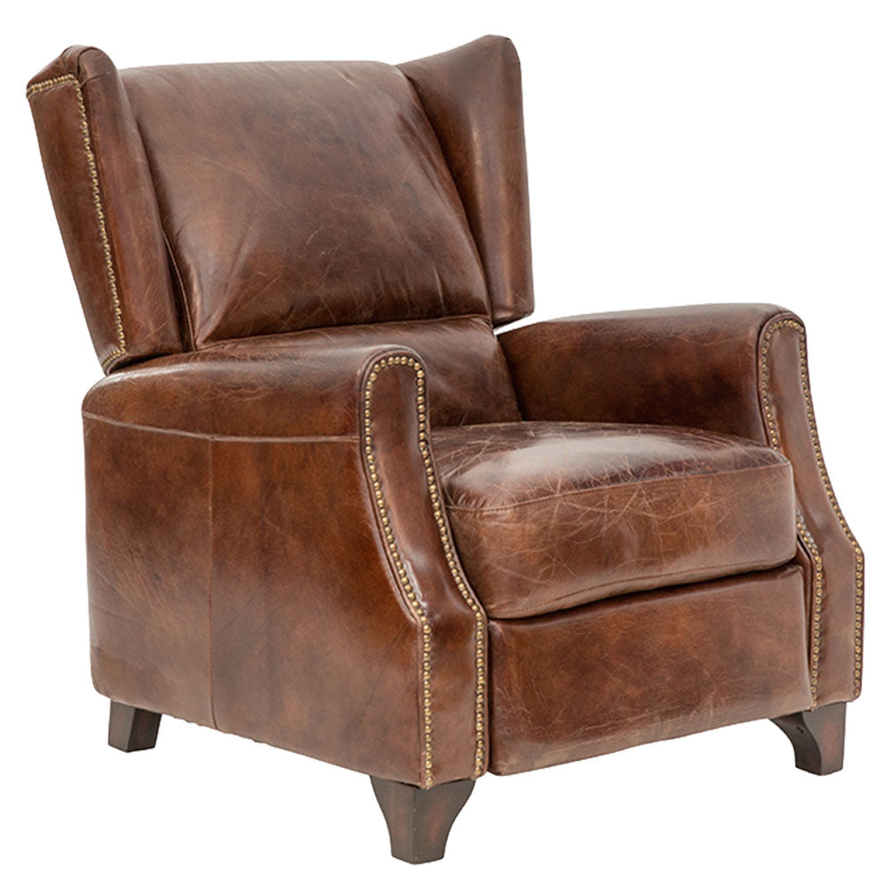 Brooklyn Chesterfield Recliner Armchair Aged Leather - Notbrand