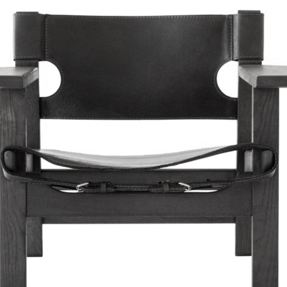 Olsen Teak & Leather Chair Black - Notbrand