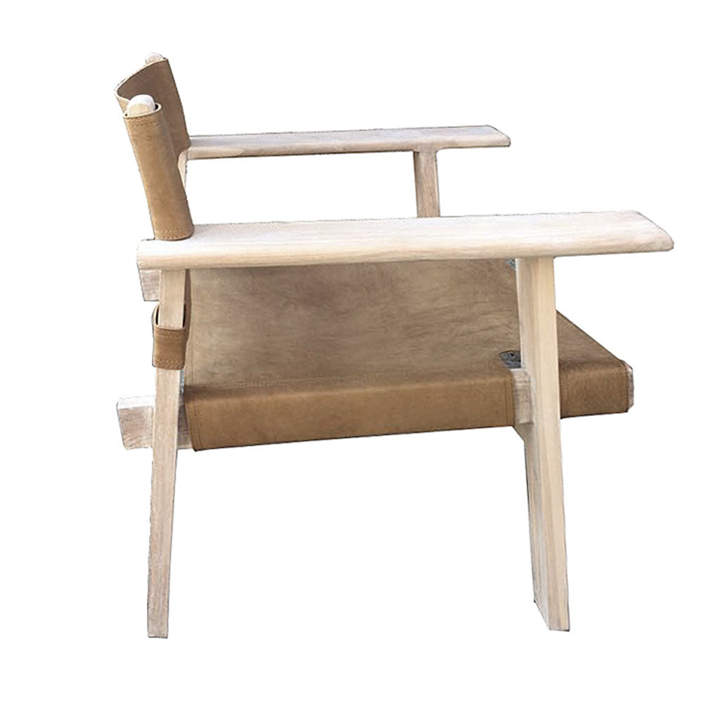 Olsen Teak & Leather Chair Natural - Notbrand