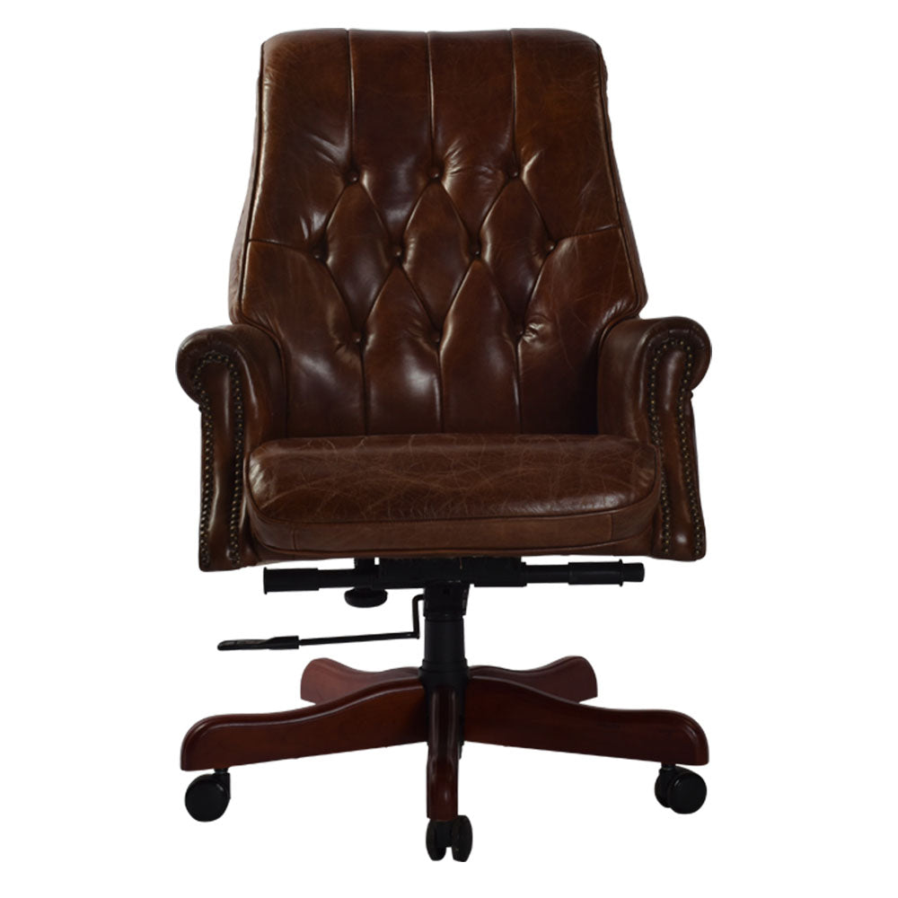 Bankers Swivel Leather Armchair - Notbrand