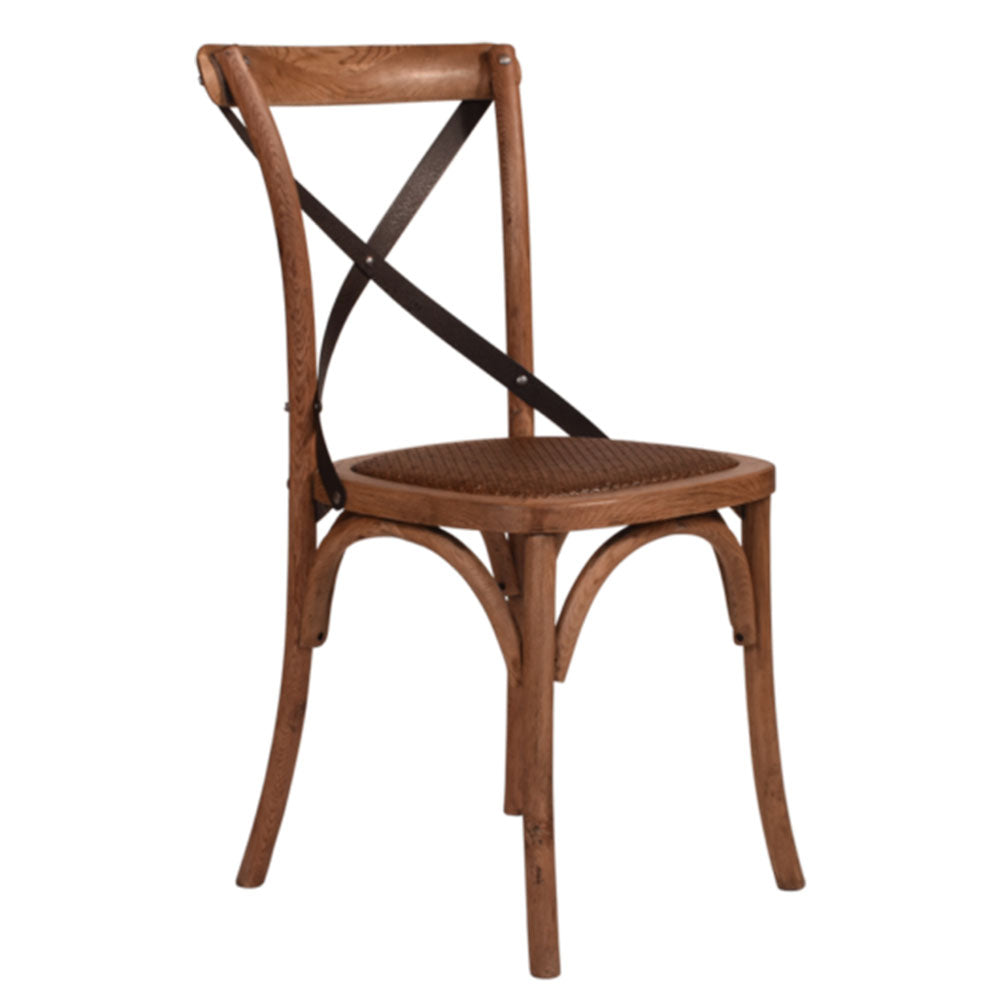 Cross Back Oak Chair Dark Metal Straps - Notbrand
