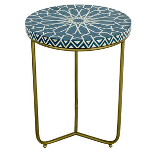 Jessi Bone Inlay Round Side Table Jade - Notbrand