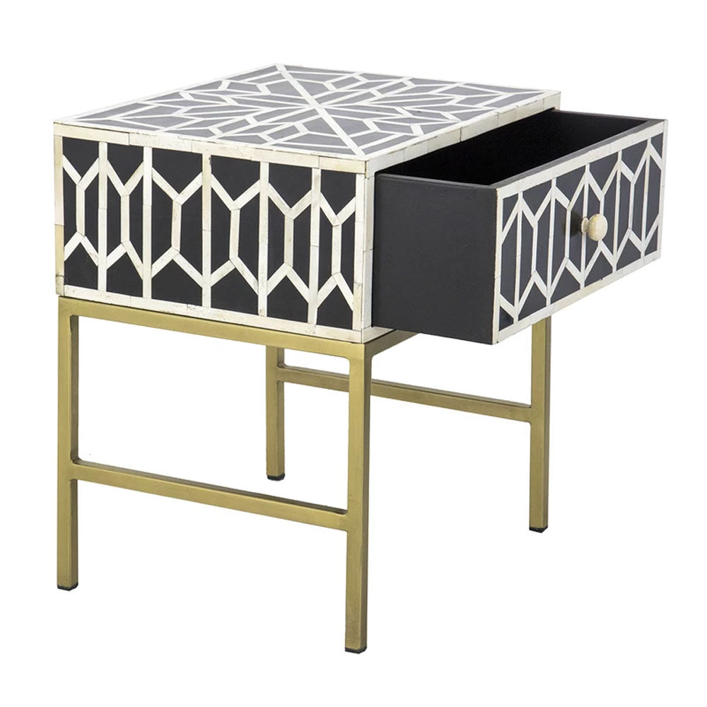 Neo Bone Inlay Side Table Drawer - Notbrand