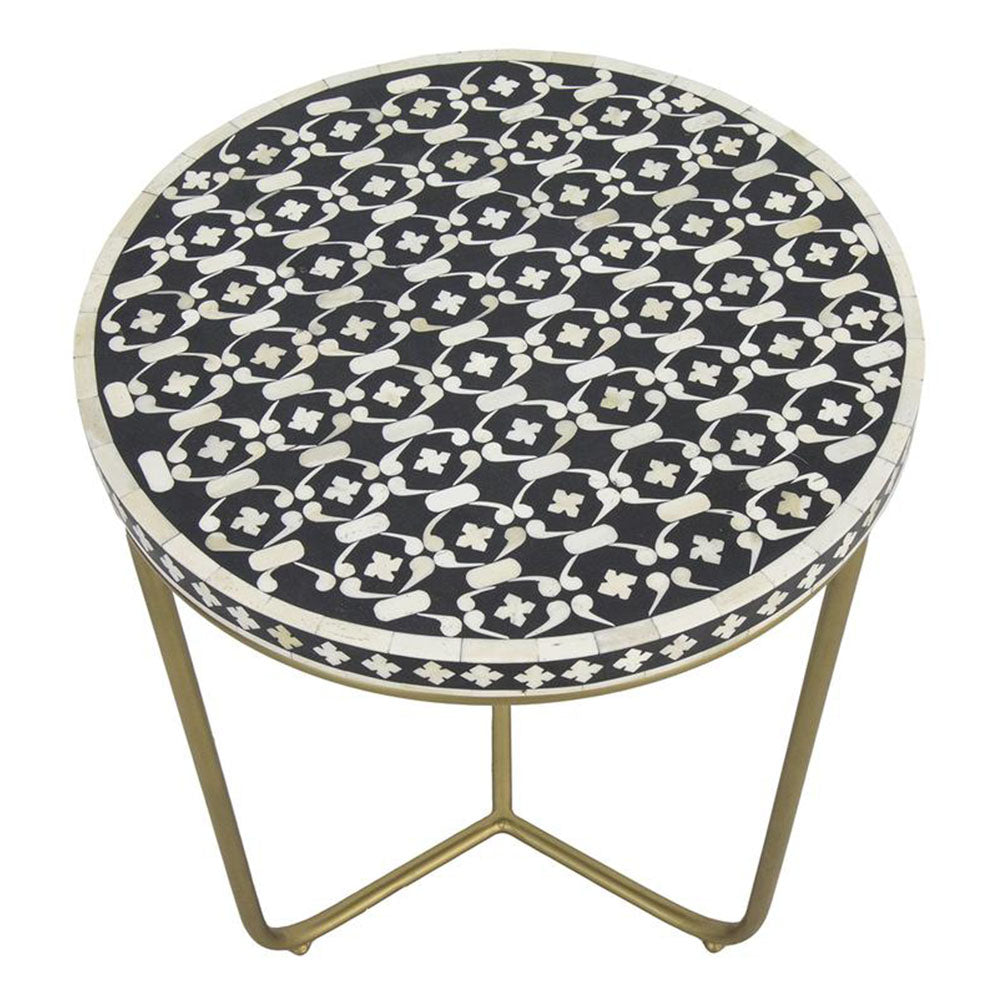 Polka Bone Inlay Round Side Table - Notbrand