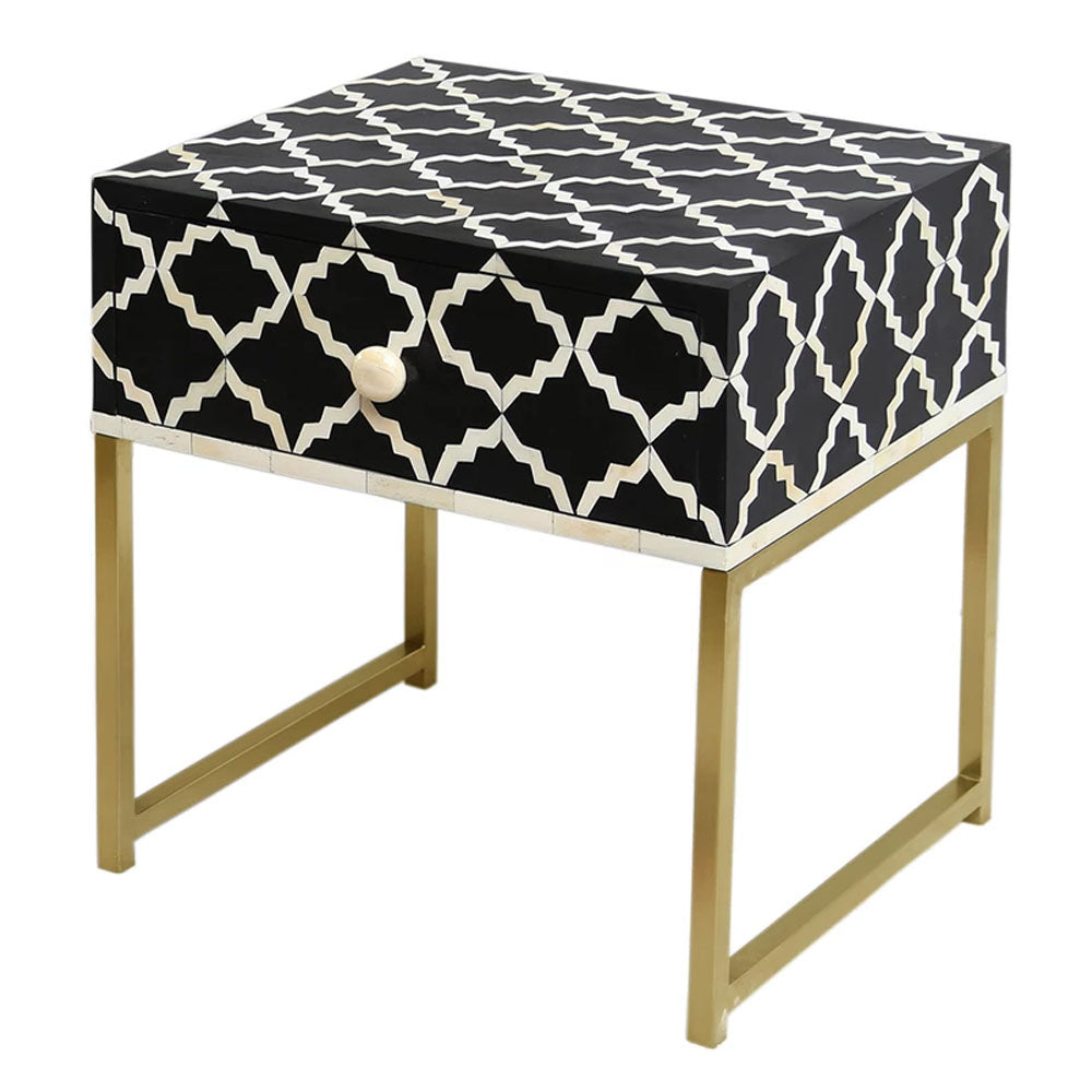Karina Bone Inlay Bedside Table - Notbrand