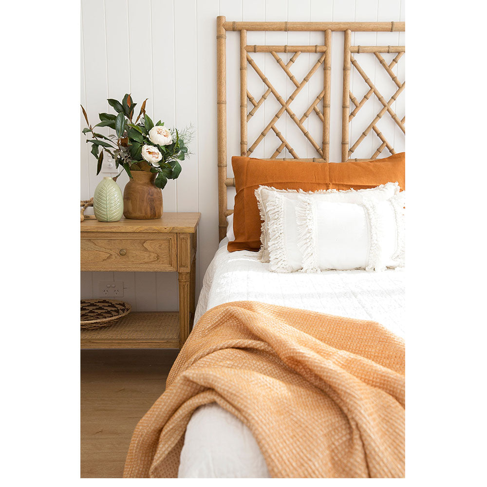 Chippendale Bedhead – Queen Size – Weathered Oak - Notbrand