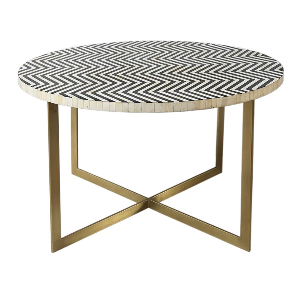 Fara Bone Inlay Round Dining Table - Notbrand