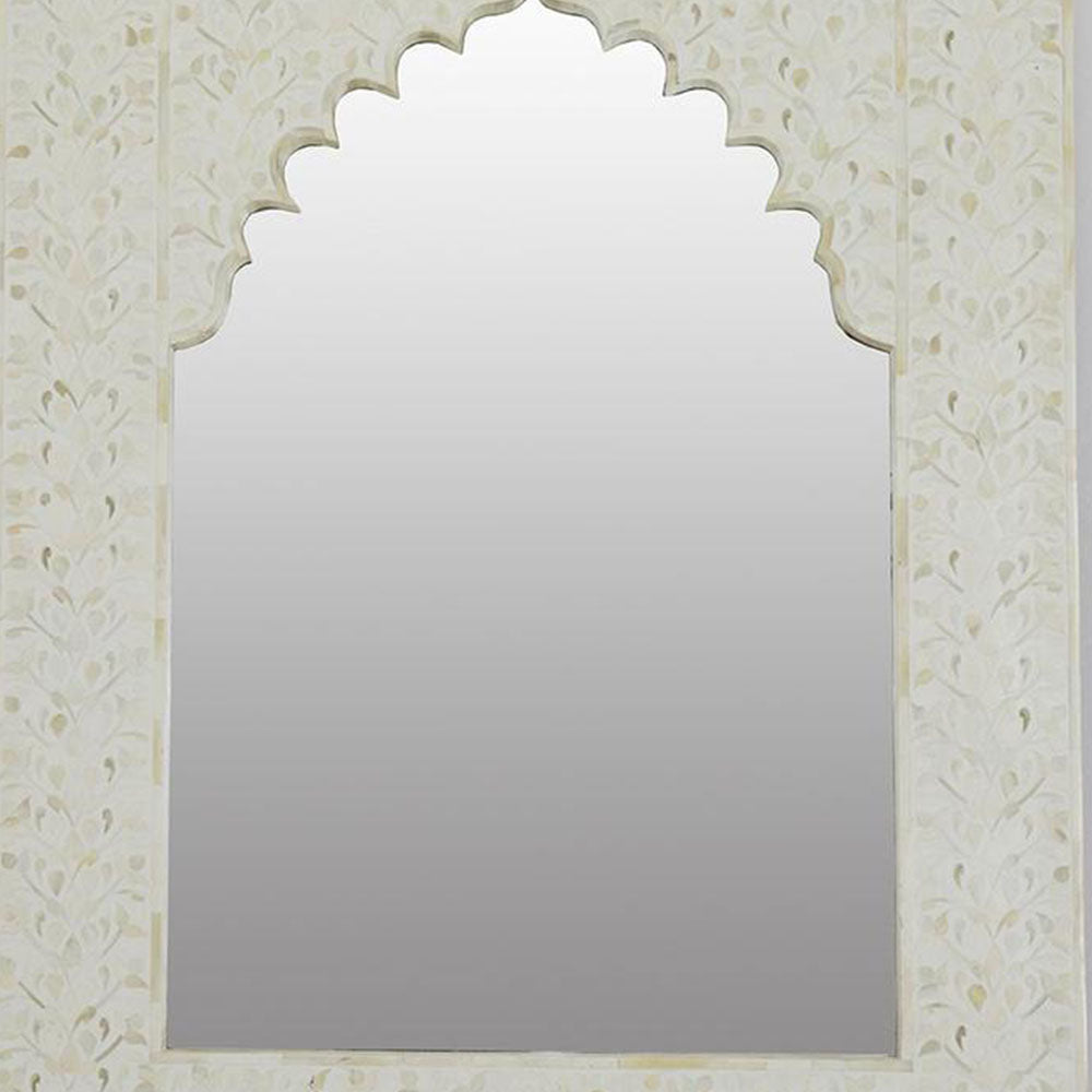 Zara Bone Inlay & White Wood Mirror - Notbrand