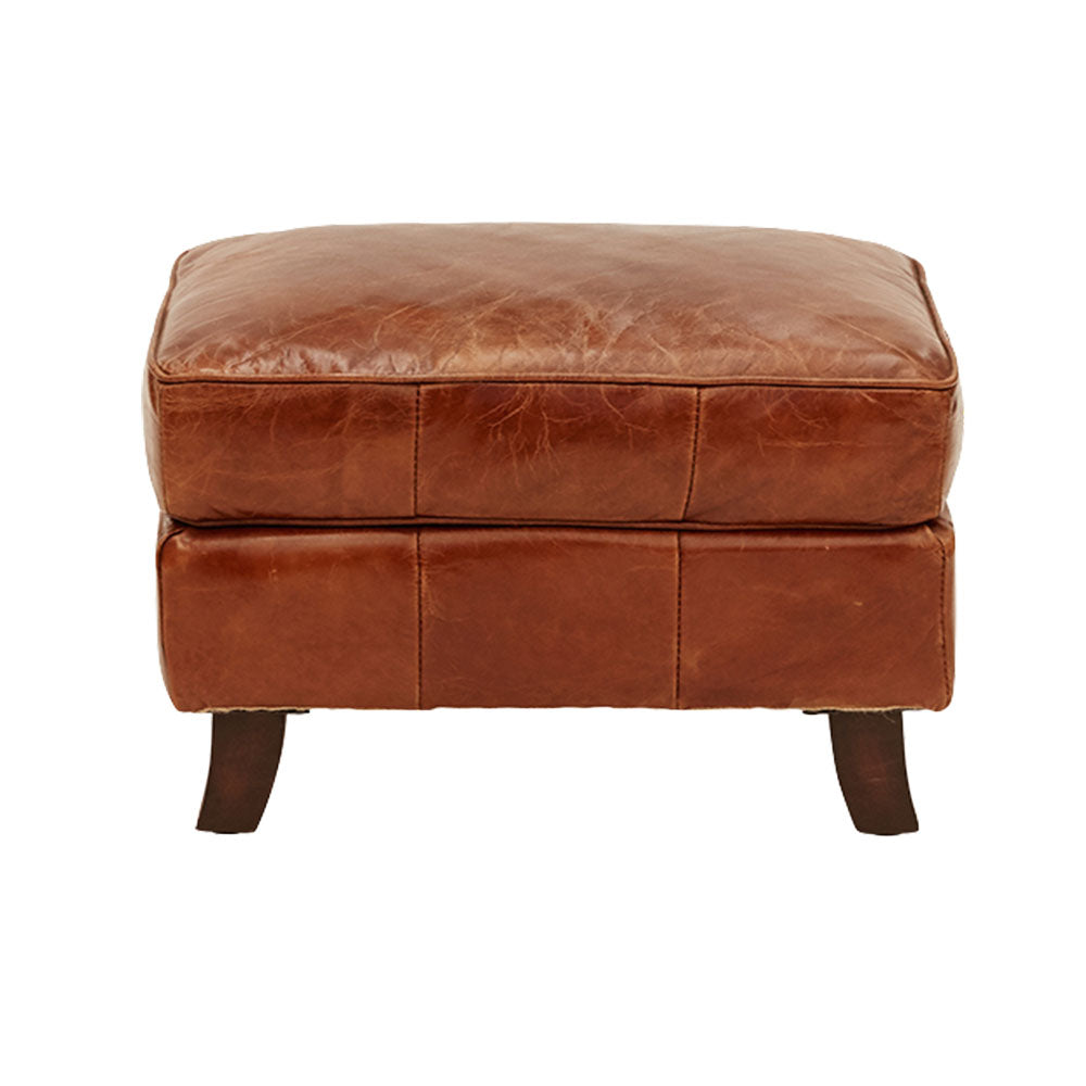 Corbin Leather Ottoman Footstool Curved Legs - Notbrand