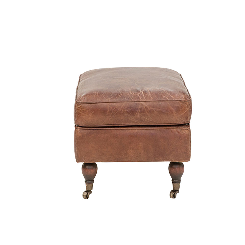 Bradley Chesterfield Ottoman Aged Leather - Notbrand