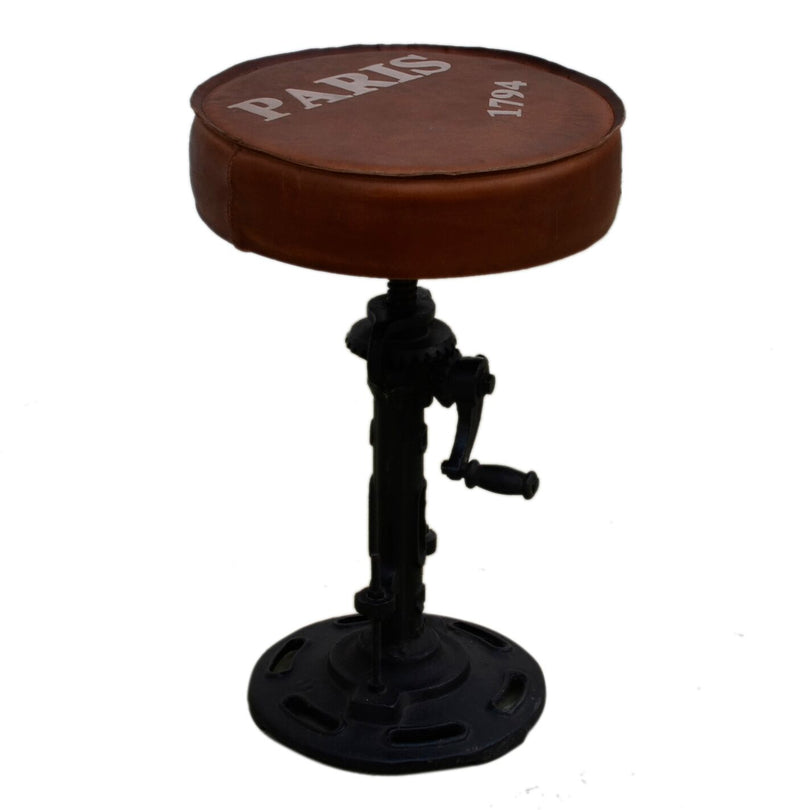 Industrial Wind Up Cast Iron Bar Stool - Notbrand