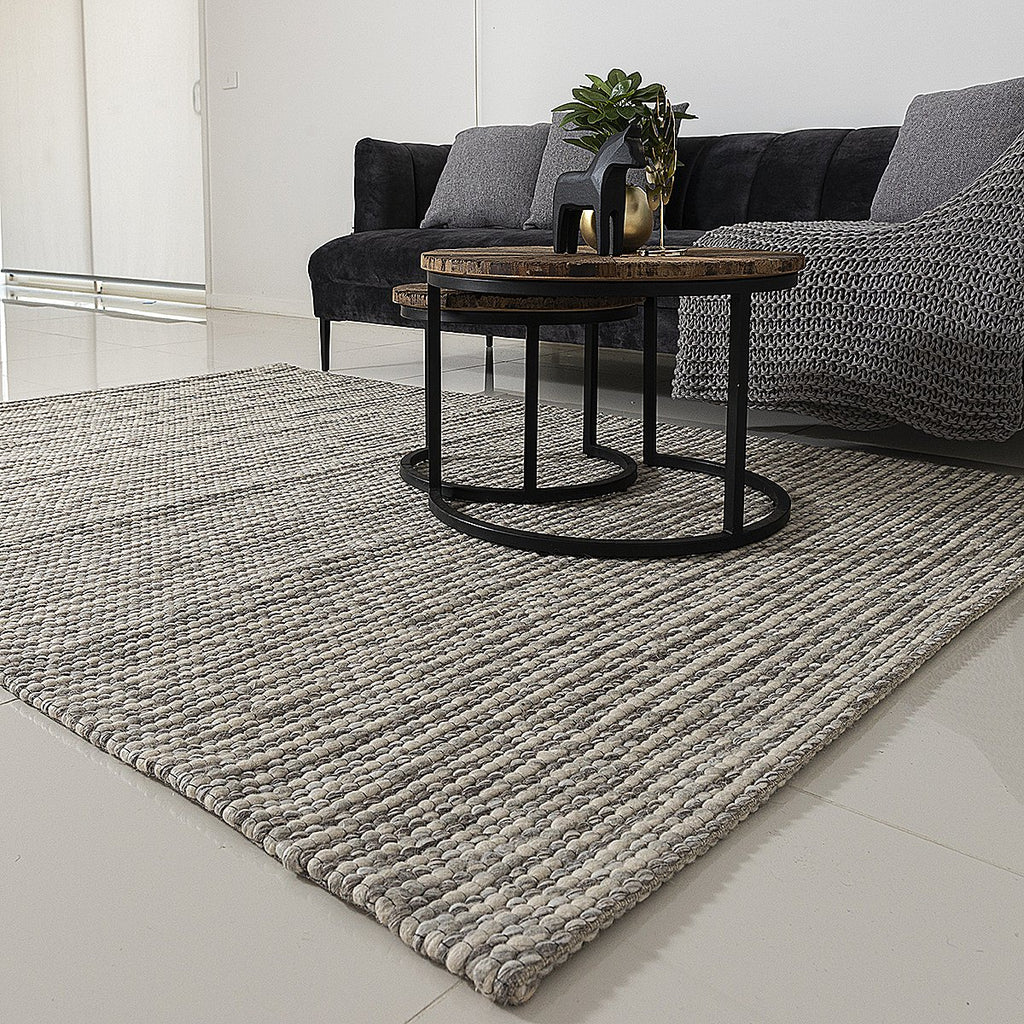 Valencia Silver Hand Woven Wool Rug